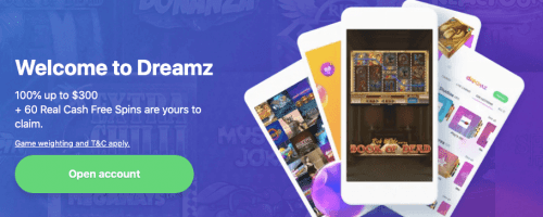Dreamz Casino: No Deposit Welcome Bonus 10 Free Spins on Selected Game
